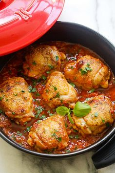 Italian Braised Chicken - delicious one-pot braised chicken recipe with tomato and basil sauce. Amazing weeknight meal for the family | rasamalaysia.com                                                                                                                                                                                 More