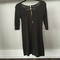 ZARA Gray and Gold zipper high / low tunic shirt Zara gray high / low tunic shirt ... Can be worn as mini dress too!! Zara Basic Evening collection, size small! Worn once - super cute! Zara Tops Tunics