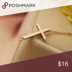Rose Gold Sideways Cross Necklace Gorgeous boho sideways cross necklace that rests on the collar bone to the side, not on the center of the neck. Smoke free and come in packaging. Lobster clasp. Not real gold. Jewelry Necklaces