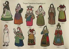 Serie di quattro tavole di costumi popolari spagnoli da ritagliare e applicare sul personaggio in basso a sinistra (Editorial Botijo).