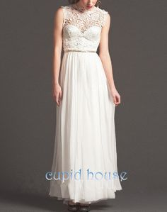 Long Lace Wedding Dress Lace Bridesmaid Dress Ivory by CupidHouse, $118.00