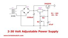 Boosting output variable voltage regulator with NPN pass transistor. Electronics Mini Projects, Electronics Basics, Electrical Projects, Electrical Engineering, Battery Charger Circuit, Electronic Circuit Design, Electrical Circuit Diagram, Power Supply Circuit, Electronic Schematics