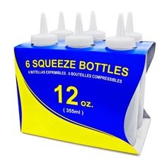 New Star 26146 Plastic Squeeze Bottle, 12-Ounce, Clear, Set of 6 New Star Foodservice
