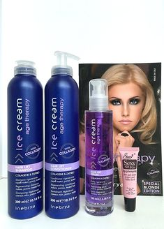 Inebrya Ice Cream Age Therapy with Collagen Kit (Hair Lift Shampoo 10.14oz, Conditioner 10.14oz Duo and Hair Lift Serum 3.38oz) * Free Lip Plumping lip gloss 10Ml* ** For more information, visit image link.