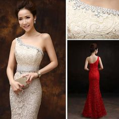 Online Shopping 2015 new formal evening dresses mermaid fishtail one shoulder lace sexy slim dinner party prom long dresses elegant champagne blue red 85.98   m.dhgate.com