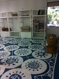 Painted Concrete Floor Base Was Standard Paint Tinted With Blue For The Design