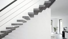 RoomStone® – exclusive fair-faced concrete products, fair-faced concrete staircase, fair-faced concrete, concrete, staircase, wooden staircase, textile reinforced concrete