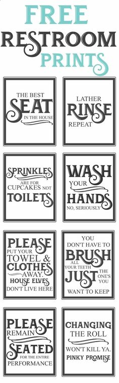 Free Vintage inspired bathroom printables-funny quotes to hang up in the restroom-farmhouse style-www.themoun...