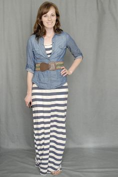 Denim shirt over maxi dress w/ belt. I guess I can do this for the Summer time instead of a jean jacket.