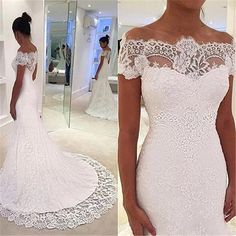 2016 Full White Lace Mermaid Wedding Dresses Short Sleeves Trumpet Chapel Train Bridal Wedding Gowns Plus Size Elegant Vestidos De Novia 2016 Wedding Dresses Plus Size Wedding Dresses Arabic Wedding Dresses Online with $242.29/Piece on In_marry's Store | DHgate.com
