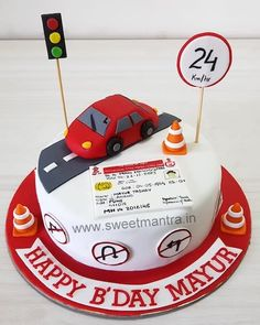 Driving license theme customised designer fondant cake for RTO officer's birthday at Pune Fondant Cakes, Cupcake Cakes, 3d Cakes, 17 Birthday Cake, 16th Birthday, Cake Home Delivery, Cars Theme Cake, Cake Pictures, Diy Cake