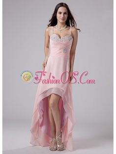 Beading Spaghetti Straps Empire Chiffon High-low Prom Dress Pink  http://www.fashionos.com  Dramatic dress has the wow factor. Fitted bodice features the spaghetti straps and the beaded sweetheart neckline. The dazzling empire waist part is made of ruches that are embellished with dazzling beadings. A high-low cut layered skirt is the perfect compliment to this lavish dress.    prom dress websites | low price prom dress | fitted prom dress |