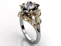14k three tone white rose and yellow gold diamond by Jewelice, $1470.00