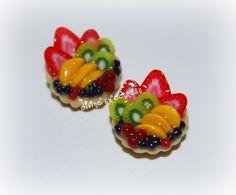 Fruit Tart Stud Earrings in Handmade Miniature Polymer clay Food Jewelry