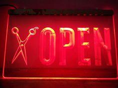 OPEN Scissor Barber Hair NR LED Neon Light Sign home decor