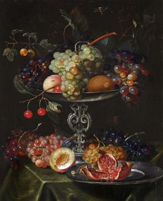 https://flic.kr/p/aepzsV | Jacob Marrel 'A still life with grapes, pomegranates and peaches in a silver dish' 1671 Oil on canvas | Jacob Marrel (1613/14 – 1681) German still life painter active during the Dutch Golden Age. Biography: en.wikipedia.org/wiki/Jacob_Marrel  ____  Digital compilation, restoration or enhancement by plumleaves.