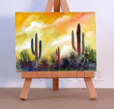 Beautiful Arizona. 3x4 inch original miniature  oil painting