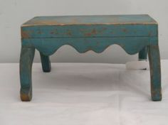 Folky cricket stool in blue paint : $125