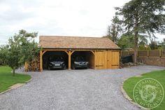 Radnor Oak - The Byton Low-Ridge- Double Garage with workshop - log store - Oak Framed Garage - Oak building Carport Sheds, Carport Garage, Garage Plans, Shed Plans, Garage Ideas, Timber Frame Garage, Pole Barn Garage, Carport Designs, Garage Design