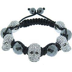 Eternally Haute Hematite Gemstone and Crystal Skull Macrame Bracelet  @Beth Ward
