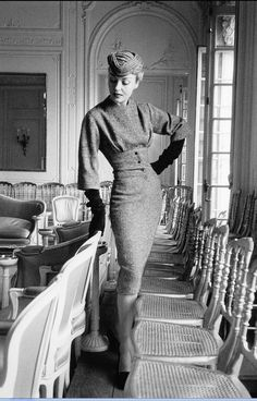 "1953 Claire in Dior's ensemble called ""Belotte"", Autumn/Winter Collection Vivante Line"