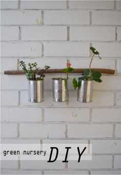 Over at Blueberry Ash there is a great tutorial on how to make a recycled tin can planter that I bet would be great for all sorts of organizing and display. Recycle Cans, Diy Recycle, Reuse, Recycled Tin Cans, Recycled Crafts, Flower Nursery, Plant Nursery, Diy Home Crafts, Diy Craft Projects