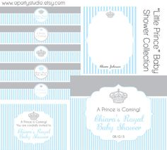 Little Prince Baby Shower in Blue and Grey- full set of printables- Print your own. You will get a total of 7 items.