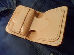 Veg tan leather billfold wallet. Handmade by SleepingDogsLeather