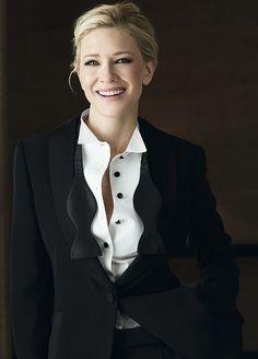Cate Blanchett in classic tuxedo suit Cate Blanchett Carol, Poses Modelo, Business Portrait, Tim Walker, Woman Crush, Beautiful Actresses, Suits For Women, Business Women, Celine