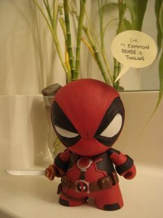 Deadpool by ~mechakami Artisan Crafts / Dolls, Plushies & Custom Toys / Customized Toys ~mechakami Fimo Clay, Polymer Clay Crafts, Biscuit, How To Make Clay, Vinyl Toys, Designer Toys, Clay Projects, Clay Creations, Vinyl Figures