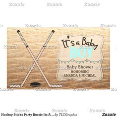 Hockey Sticks Party Rustic Its A Boy Baby Shower Banner Personalize this custom designed baby shower product. This product features crossed hockey sticks with a wood background. Great for a rustic, country hockey themed baby shower. #itsaboy #rustic #hockey #baby #shower
