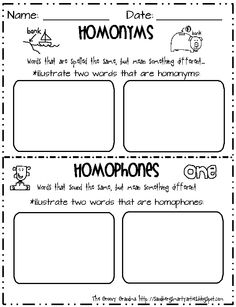 Homonyms; Homophones