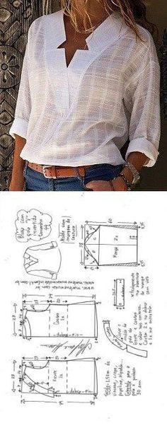 Blusa con escote V y cuello invertido - DIY - molde, corte y costura - Marlene Muk ... - #Blusa #con #Corte #costura #cuello #Diy #Escote #invertido #Marlene #Molde #Muk