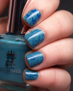 Blue heart stamped nails