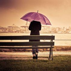 Purple umbrella.