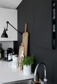 black and white kitchen two toned doors