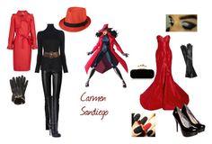 """Carmen Sandiego"" by almacen-blank ❤ liked on Polyvore featuring Jitrois, Blumarine, Lanvin, Wet Seal, Zac Posen, Valentino, Blink, MSGM, Causse and Alexander McQueen"