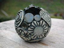 Pflanzkugel-Keramik-Patchwork-tannengrün