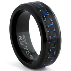 Amazon.com: Black Titanium Wedding Band Ring with Black and Blue Carbon Fiber inlay, Comfort fit 8mm, Sizes 7 to 13: Jewelry