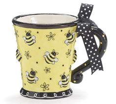 I'm on an insect and critter theme rampage! Hoping to find these adorable mugs in a larger size but would be happy with this . Bumble Bee Days Coffee Mug Cup Tea Ceramic 10 oz Gift Box Yellow Black Bees Crackpot Café, Black Bee, Yellow Black, Bee Gifts, Bees Knees, Hand Painted Ceramics, Ceramic Painting, Mellow Yellow, Mug Cup