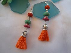 SALE  GYPSY TASSEL Dangles  Bohemian earringsTurquoise  by Nezihe1, $14.99