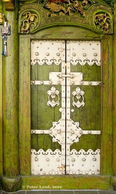 Ancient door green and silver
