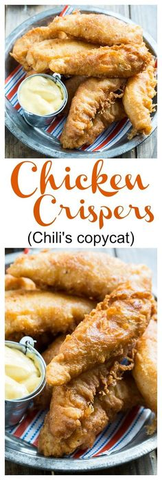 Chicken Crispers (Chili's Copycat) - - Chicken Crispers (Chili's Copycat) Food =) Chicken Crispers (Chili's copycat) – super flavorful chicken tenders. This batter is really awesome and has a nontraditional ingredient. Turkey Recipes, New Recipes, Cooking Recipes, Favorite Recipes, Recipies, Fondue Recipes, Cake Recipes, Simple Recipes, Lunch Recipes