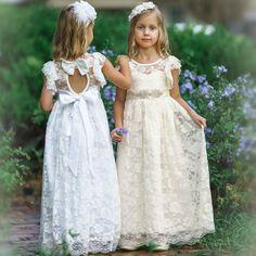 Ivory lace flower girl dress flower girl dresses B Flower Girl Dresses Country, Rustic Flower Girls, Lace Flower Girls, Lace Flowers, Flower Dresses, Ivory Dresses, Girls Dresses, Bohemian Flowers, Boho