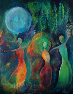 Moon Dance, Acrylic Painting, Limited Edition Print, Women Dancing, Moon, Orange, Blue, Teal