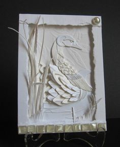 Fanciful Swan paper sculpture by Amaranthine - Cards and Paper Crafts at Splitcoaststampers