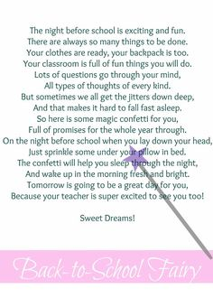 Back to School Fairy Poem