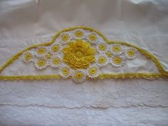 Vintage White Pillowcase Set with Yellow by AprilsLuxuries on Etsy