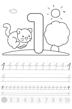 Writing numbers worksheets for preschool and kindergarten - Kids Art & Craft Numbers For Kids, Numbers Preschool, Pre K Activities, Alphabet Activities, Number Worksheets, Preschool Worksheets, Preschool Writing, Teaching Kids, Kids Learning