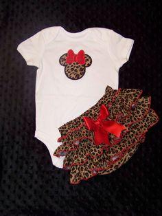 2 Pcs Minnie Mouse Set / Bodysuit  Cheetah by KarriesBoutique, $47.95